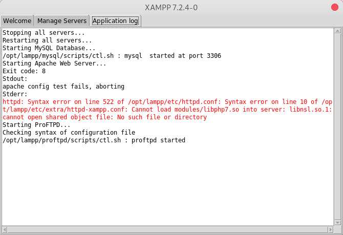 XAMPP 7.2.4: Error compatible solo con librerías de 32bits no inicia en Fedora 28