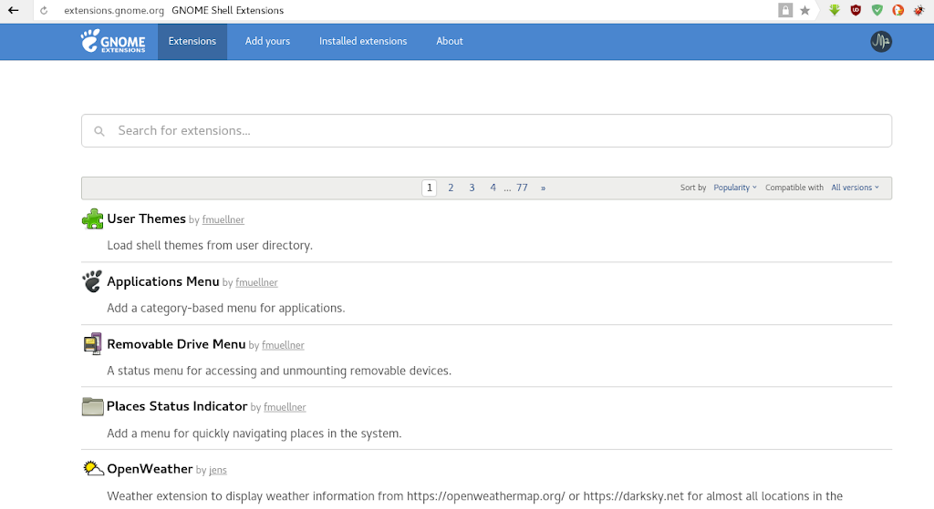 Instalar complemento para administrar extensiones de Gnome Shell en Fedora 28