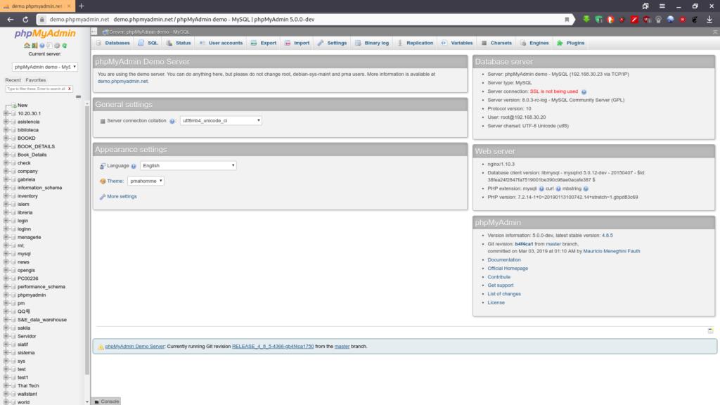 Administrar phpMyAdmin remoto con servidor en Fedora 29