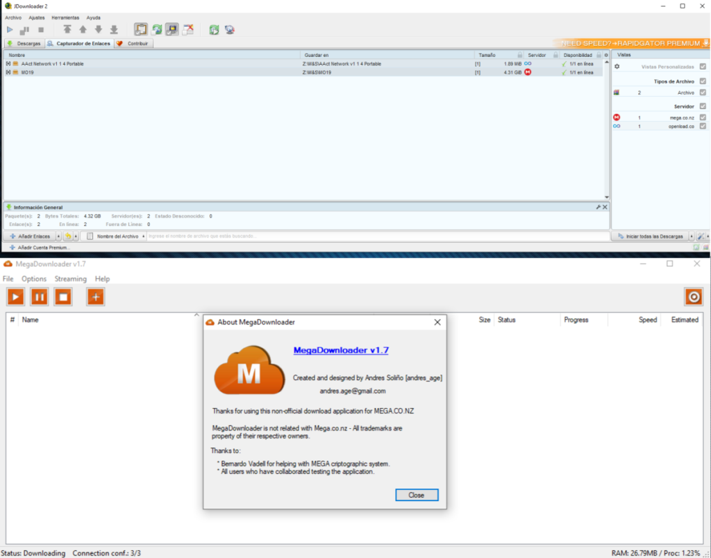 Instalar Megadownloader y JDownlaoder 2