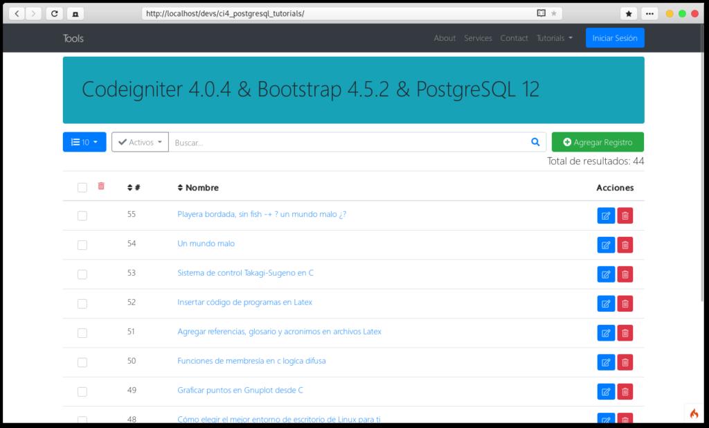 Codeigniter 4 con PostgreSQL