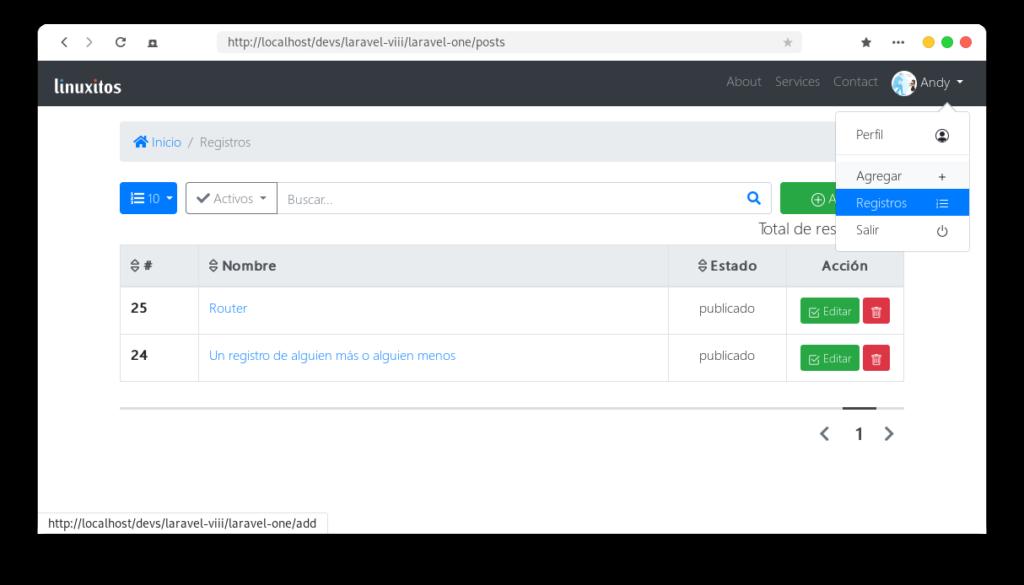 Login, registro y ABC base de datos | Laravel 8, PHP 8 XAMPP 8