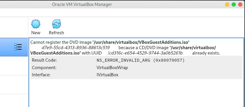 Resolver error 'Cannot register the DVD image' de VirtualBox
